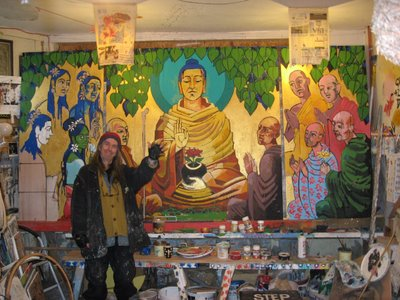 Aloka shows off work so far on his new painting for the LBC's basement