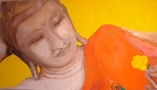 The giant Buddha mural in the Birmingham Buddhist Centre's cafe area