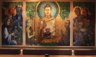 Aloka's new painting installed in the LBC's new basement shrine room