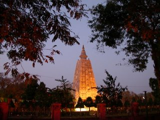The Mahabodhi Temple at dusk