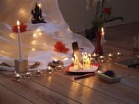 A beautiful shrine for a mitra ceremony at the Amsterdam Buddhist Centre