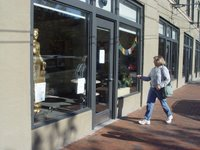 The entrance of the new Nagaloka Buddhist Center in downtown Portland, Maine - with our buddha in the window