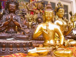 Some of Dhiramati's stock displayed on a recent Western Buddhist Order Convention - Vajrasattva to the fore