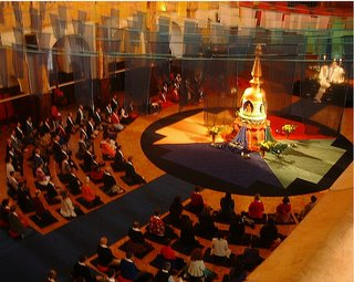 The photo shows the Western Buddhist Order stupa on a WBO day in London, courtesy of Silabhadra, www.happyartists.co.uk