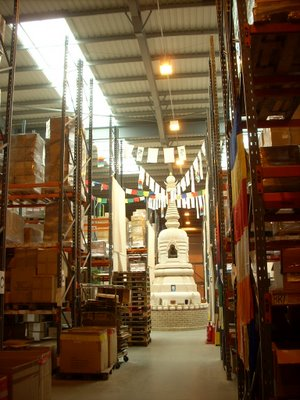 A view of the windhorse warehouse, and the giant stupa at its heart